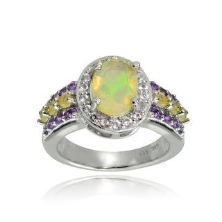 Glitzy Rocks Sterling Silver Ethiopian Opal, African Amethyst and White Topaz Oval Band Ring