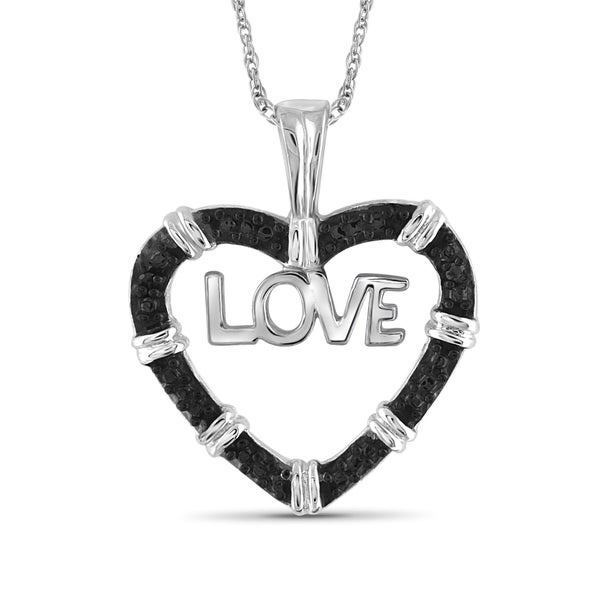 Jewelonfire Sterling Silver Black Diamond Accent Love Heart Pendant