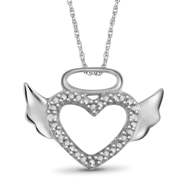 Jewelonfire Sterling Silver White Diamond Accent Halo Winged Heart Pendant
