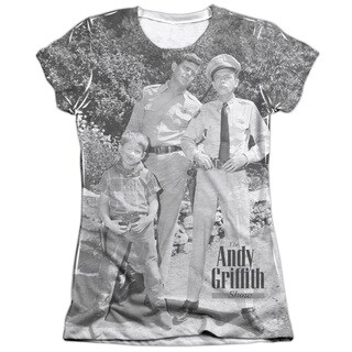 Andy Griffith/Lawmen Short Sleeve Junior Poly/Cotton Crew in White