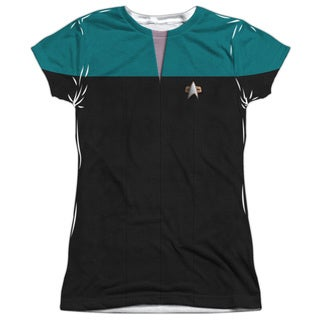 Star Trek/Voyager Science Uniform Short Sleeve Junior Poly Crew in White
