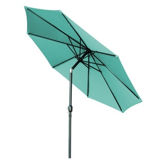 Trademark Innovations Black, Blue, Green, Multi, Red and Tan Aluminum, Polyester and Steel Tilt Crank Patio Umbrella