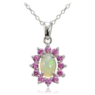 Glitzy Rocks Sterling Silver Ethiopian Opal and Created Pink Sapphire Oval Flower Necklace