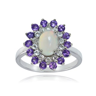 Glitzy Rocks Sterling Silver Ethiopian Opal, African Amethyst and White Topaz Oval Flower Ring