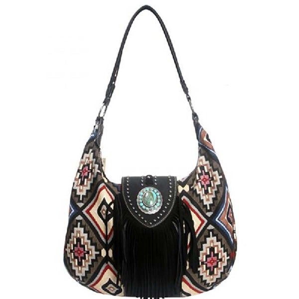 Aztec Hobo Black Leather Fringe Handbag