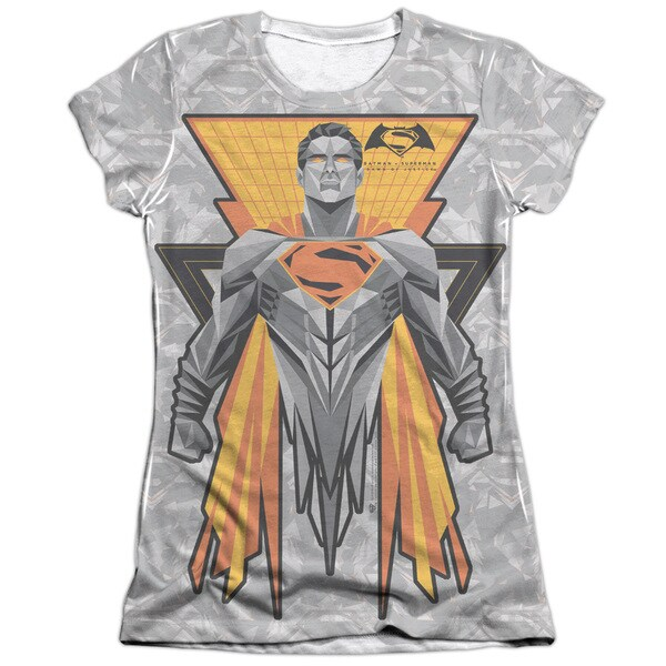 Batman V Superman/Super Tech Sub Short Sleeve Junior 65/35 Poly/Cotton Crew in White