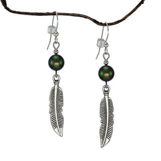 Jewelry by Dawn Iridescent Green Curved Pewter Feather Earrings
