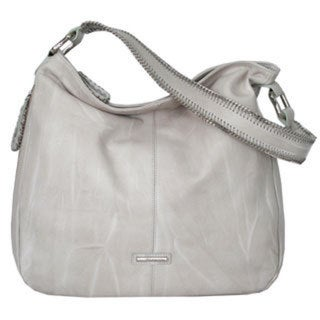 Joanel Grey Leather Hobo Handbag