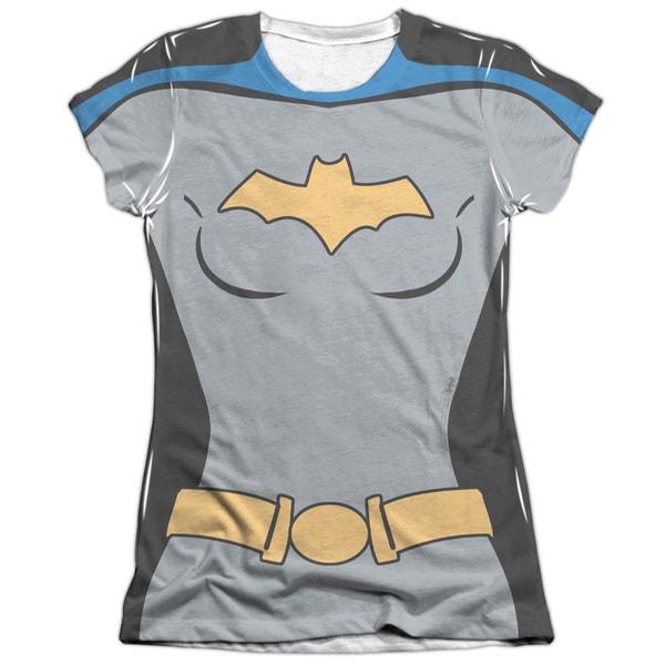 Batman The Animated Series/Batgirl Uniform Short Sleeve Junior 65/35 Poly/Cotton Crew in White