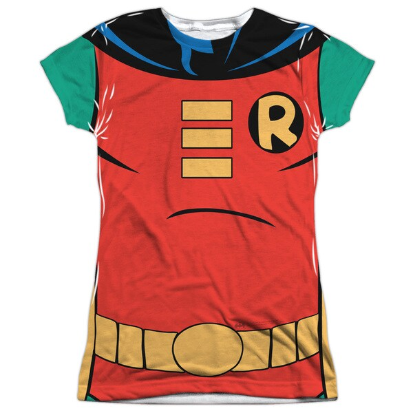 Batman The Animated Series/Robin Uniform Short Sleeve Junior 100-percent Poly Crew in White
