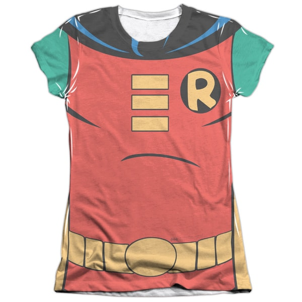 Batman The Animated Series/Robin Uniform Short Sleeve Junior 65/35 Poly/Cotton Crew in White