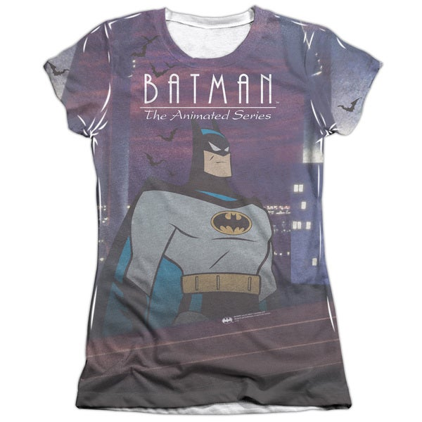 Batman The Animated Series/Roof Top Short Sleeve Junior 65/35 Poly/Cotton Crew in White