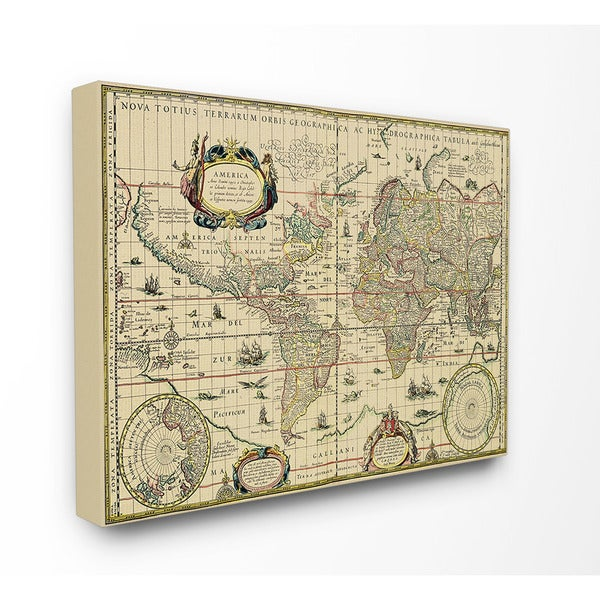 Antique Explorer World Map Canvas Wall Art