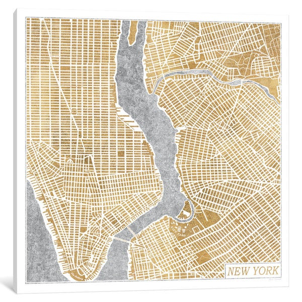 iCanvas Gilded New York Map by Laura Marshall Canvas Print