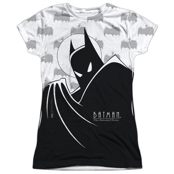 Batman The Animated Series/Large Silhouette Short Sleeve Junior 100-percent Poly Crew in White