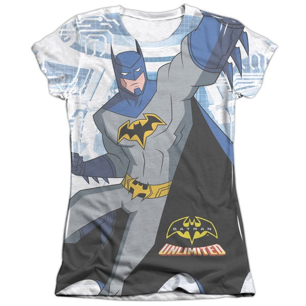 Batman Unlimited/Tech Cave Short Sleeve Junior Poly/Cotton Crew in White