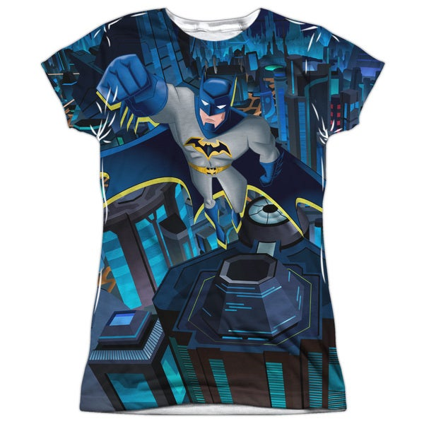 Batman Unlimited/Cityscape Short Sleeve Junior Poly Crew in White