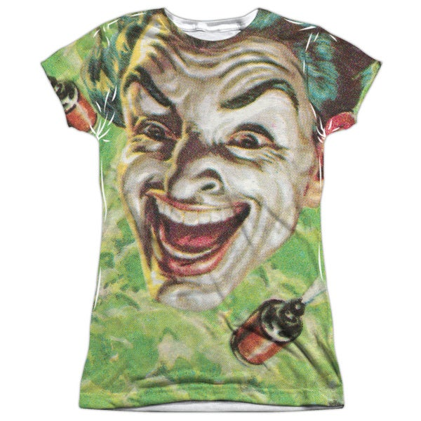 Batman Classic Tv/Laugh Gas (Front/Back Print) Short Sleeve Junior Poly Crew in Sublimate White