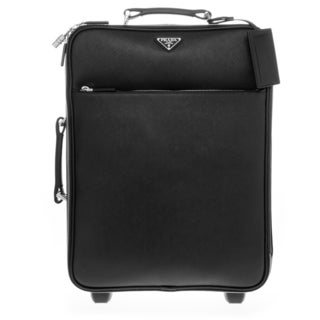 Prada Saffiano Black Leather 18.5-inch Rolling Carry-on Suitcase