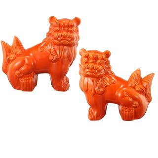 Guardian Lion Orange Ceramic Bookends Set