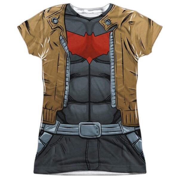 Batman/Red Hood Uniform (Front/Back Print) Short Sleeve Junior Poly Crew in White