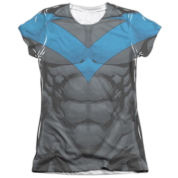 Batman/Nightwing Blue Uniform (Front/Back Print) Short Sleeve Junior Poly/Cotton Crew in White