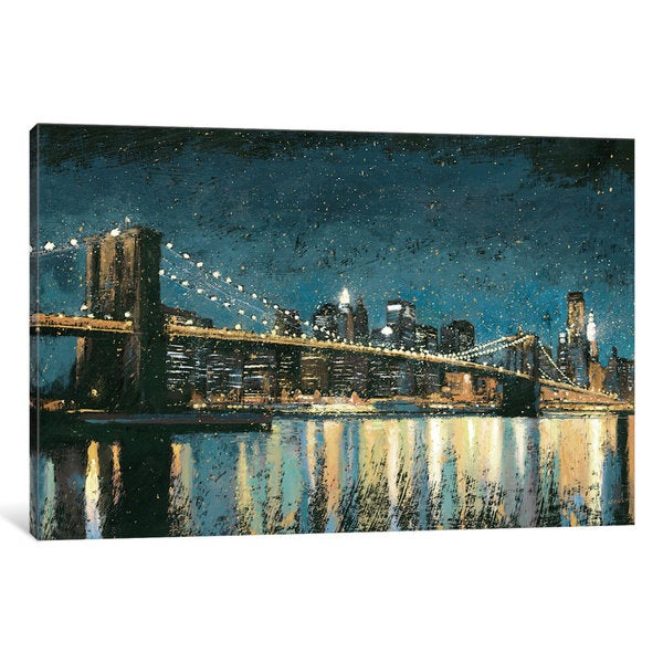 iCanvas Bright City Lights I (Blue) by James Wiens Canvas Print