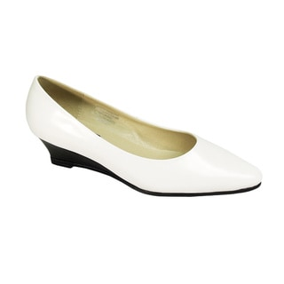FIC Peerage Gloria Women Extra Wide-Width Leather Wedges