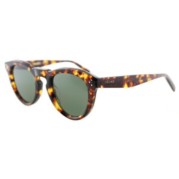 Celine CL 41384/F E88 Blonde Tortoise Plastic Round Grey Green Lens Sunglasses