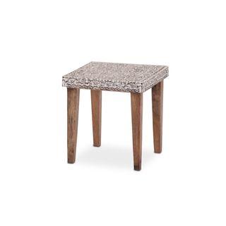 Brown Wood Top-carved Side Table