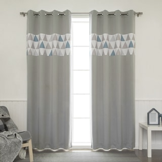 Aurora Home Nordic Triangle Banded Grommet Top Curtain Panel Pair