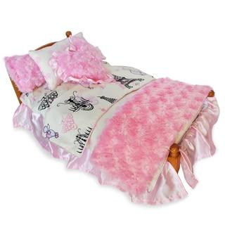 AnnLoren Poodles in Paris Cotton Polyester 7-piece Bedding Ensemble for 18-inch American Girl Dolls