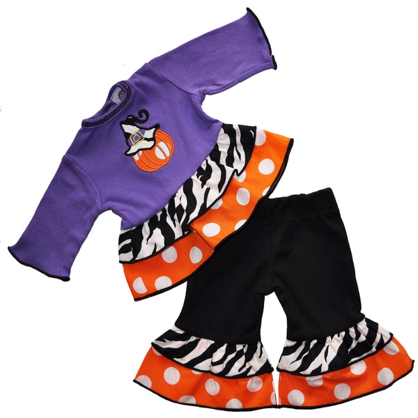 AnnLoren Halloween White/Black/Purple/Orange Cotton Pumpkin Polka Dot Doll Outfit for 18-inch Dolls