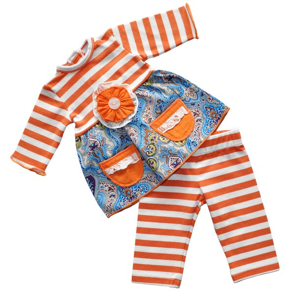 AnnLoren American Girl Orange, White, Blue Cotton Stripe Doll Outfit