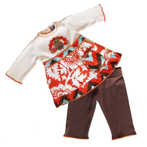 AnnLoren American Girl Multicolor Cotton Thanksgiving Blossom Turkey Doll Outfit