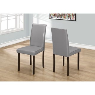 Grey Wood/MDF 36-inch Leather-look Dining Chairs (Set of 2)