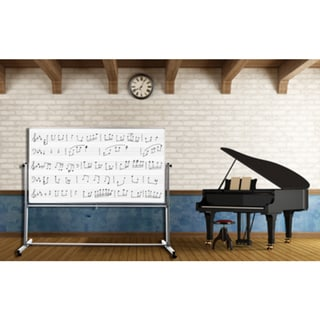 Luxor MB7248MM White Steel/Aluminium 72-inch x 48-inch Reversible Mobile Magnetic Music Whiteboard