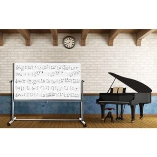 Luxor MB7248MM White Steel/Aluminium 72-inch x 48-inch Reversible Mobile Magnetic Music Whiteboard