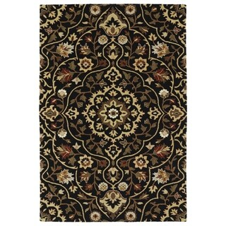 Hand-Tufted Perry Medallion Black Wool Rug (9'0 x 12'0)