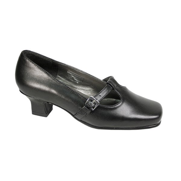 FIC PEERAGE Iris Women's Extra Wide T-strap Black Pumps