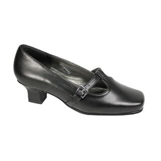 FIC PEERAGE Women's Iris Black Leather Extra Wide Width T-strap Pumps