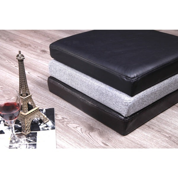 Cubicoo Grey, Brown and Black Linen/PU Storage Ottomans (Pack of Three)