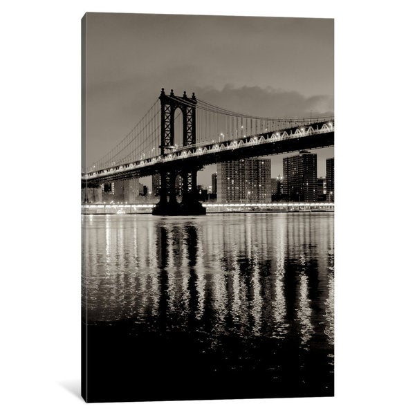 iCanvas Manhattan Bridge At Night by Alan Blaustein Canvas Print
