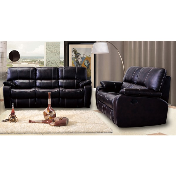 Silverado Modern Dark Brown Printed Leather Reclining Sofa and Love Seat 2-piece Set