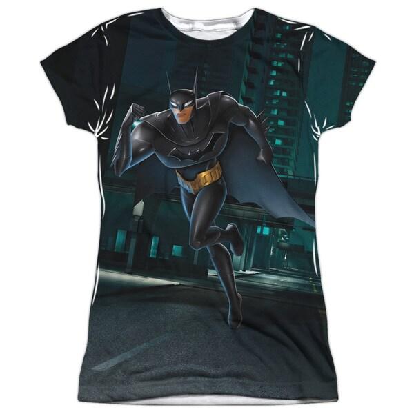 Beware The Batman/Run Short Sleeve Junior Poly Crew in White