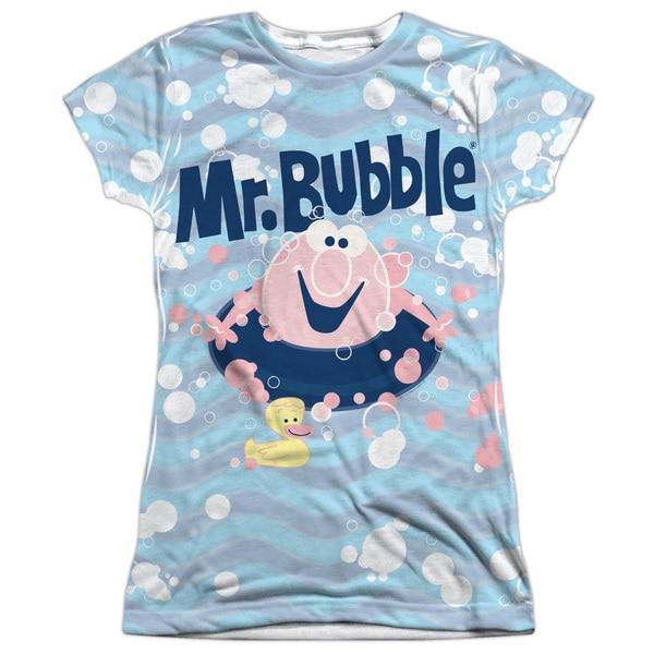 Mr Bubble/Shine Short Sleeve Junior Poly Crew in White