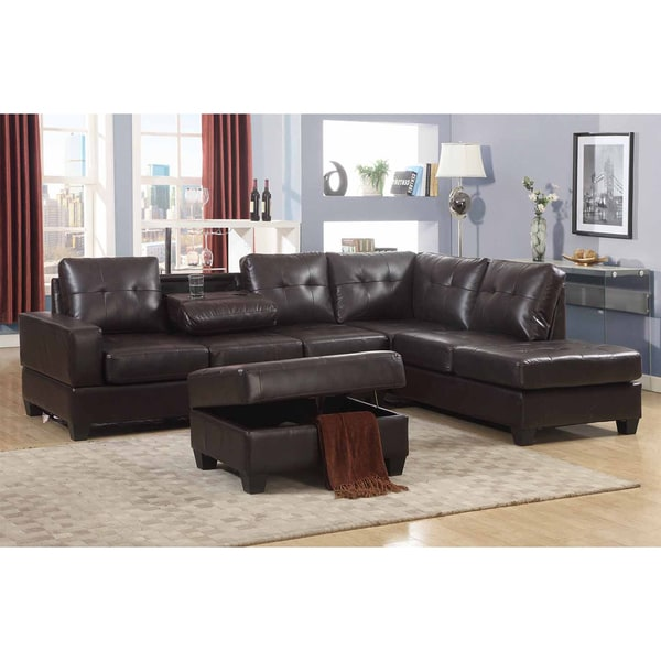 brown faux leather reclining sectional sofa with storage consoles