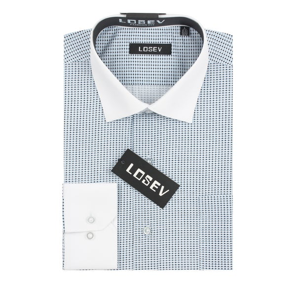 Verno Losev Men's Navy and Light Blue Poly-Cotton Print Dress Shirt with Contrasting Collar and Cuffs