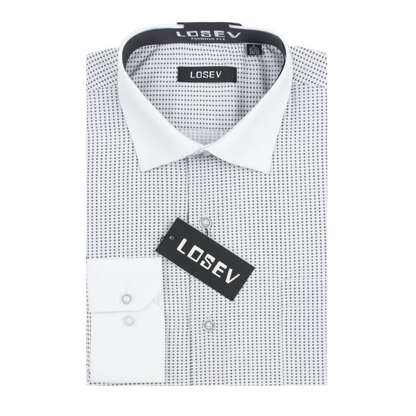 Verno Losev Men's Black/Grey Polyester/Cotton Print Dress Shirt