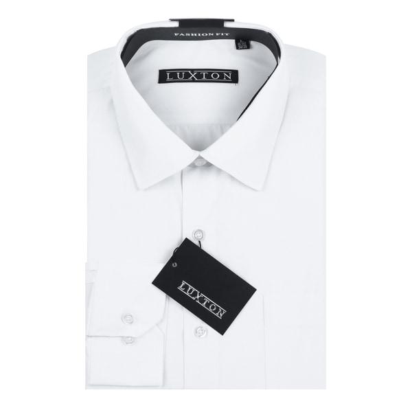 Verno Luxton Men's White Cotton Blend Textured Long-sleeve Dress Shirt